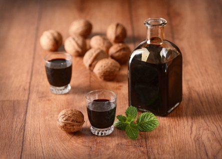 walnut liqueur in the bottle