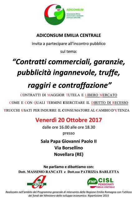 Locandina Adiconsum 20 ottobre a Novellara con loghi