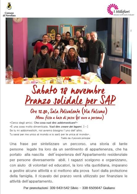 Pranzo solidale SAP locandina